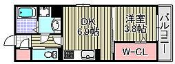 ボンシャンス薫風B[201号室]の間取り
