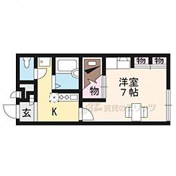 京阪宇治線 六地蔵駅 徒歩4分の賃貸アパート 1階1Kの間取り