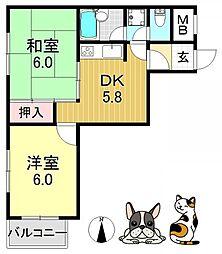 エースハイツひらの[6階]の間取り