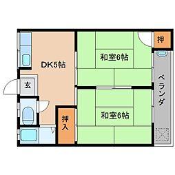 JR和歌山線 北宇智駅 徒歩4分の賃貸アパート 1階2DKの間取り