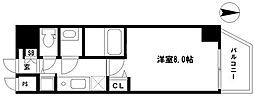 EARTHMANS OSAKA-JO 11階1Kの間取り
