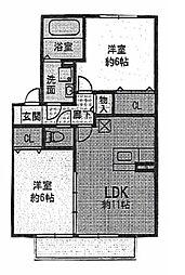 フェア・ウインドA[1階]の間取り