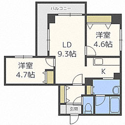 ハイデンス松本[6階]の間取り