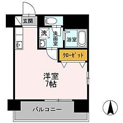 愛媛県松山市平和通4丁目の賃貸マンションの間取り
