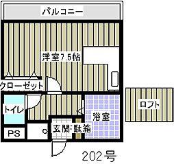 センターコート平和[202号室]の間取り