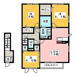 ロイヤル クレスト A棟[2階]の間取り