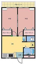宝国マンション[2階]の間取り