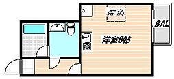 東武野田線 新船橋駅 徒歩5分の賃貸マンション 2階ワンルームの間取り