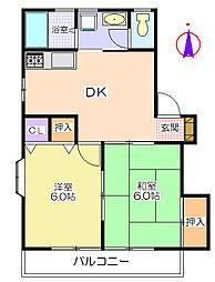 パインハイツB[2階]の間取り