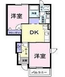 栃木県宇都宮市岩曽町の賃貸アパートの間取り