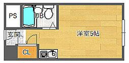 北大阪急行電鉄 緑地公園駅 徒歩6分の賃貸マンション 4階ワンルームの間取り