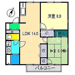 パークサイドアサヒ[2階]の間取り