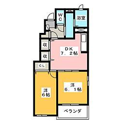 メゾンソレーユM[1階]の間取り