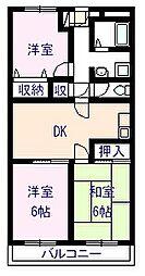 ムカイマンションB棟[303号室]の間取り