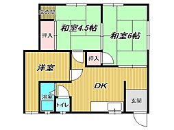 兵庫県神戸市垂水区向陽2丁目の賃貸アパートの間取り