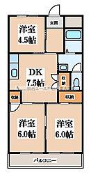 大阪府東大阪市瓜生堂1丁目の賃貸マンションの間取り