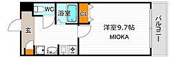南海高野線 沢ノ町駅 徒歩12分の賃貸マンション 7階1Kの間取り