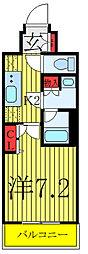 N-STAGE AKABANESHIMO 2階1Kの間取り