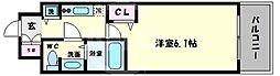 アクアプレイス天王寺II 12階1Kの間取り