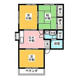 サンハイツ A・B[1階]の間取り