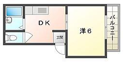 富士マンション 3階1DKの間取り