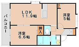 ドアーズ南福岡A・B[1階]の間取り