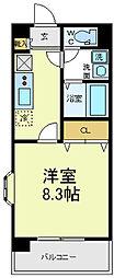 Osaka Metro御堂筋線 天王寺駅 徒歩9分の賃貸マンション 2階1Kの間取り