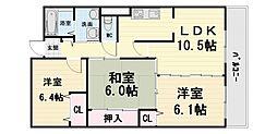 大阪府堺市西区浜寺石津町中2丁の賃貸マンションの間取り