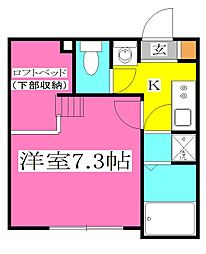 JR武蔵野線 東所沢駅 徒歩9分の賃貸アパート 1階1Kの間取り