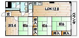 福岡県北九州市八幡東区山王2の賃貸マンションの間取り