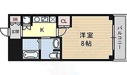 阪急千里線 豊津駅 徒歩3分の賃貸マンション 4階1Kの間取り