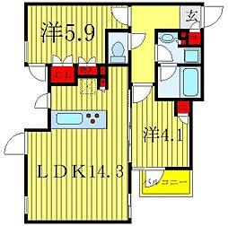 ザ・レジデンス駒込染井 2階2LDKの間取り