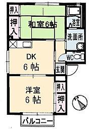 広島県呉市焼山中央4丁目の賃貸アパートの間取り