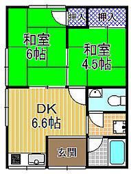 大阪府大阪市此花区梅香2丁目の賃貸アパートの間取り