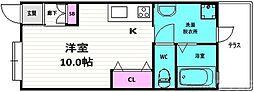 京ぐらし東福寺 1階ワンルームの間取り