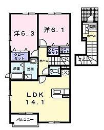 愛媛県松山市樽味3丁目の賃貸アパートの間取り