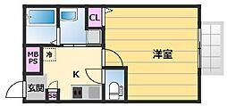 北花田ジーイーアン 2階1Kの間取り