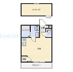 JR徳島線 府中駅 3.5kmの賃貸アパート 1階ワンルームの間取り