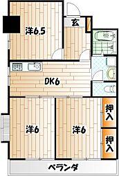 福岡県北九州市小倉北区下富野5丁目の賃貸マンションの間取り