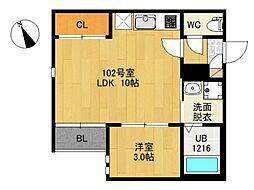 仙台市地下鉄東西線 連坊駅 徒歩7分の賃貸アパート 1階1LDKの間取り