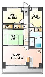 愛知県海部郡大治町大字西條字尼ケ須賀の賃貸マンションの間取り