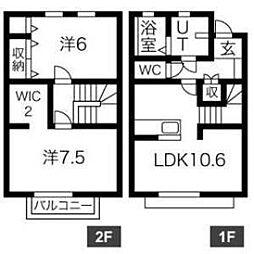 愛知県安城市二本木新町1丁目の賃貸アパートの間取り
