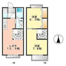 [タウンハウス] 愛知県北名古屋市鹿田新宮境内附 の賃貸【/】の間取り