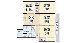 公社清和台住宅団地12号棟[105号室]の間取り