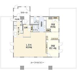 JR南武線 谷保駅 徒歩10分の賃貸マンション 7階2LDKの間取り