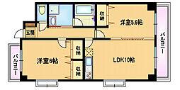JR大阪環状線 桜ノ宮駅 徒歩1分の賃貸マンション 6階2LDKの間取り