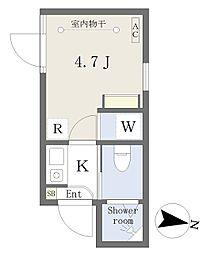 西武新宿線 下落合駅 徒歩2分の賃貸マンション 地下1階1Kの間取り
