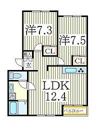 プレンソレイユB[1階]の間取り