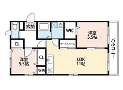 福岡県北九州市八幡西区馬場山西の賃貸アパートの間取り