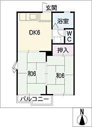 スカイハイツA・B[1階]の間取り